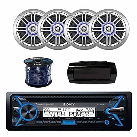 Sony MEXM100BT 160W RMS Marine CD Receiver, BT With Millenia SPK652BSL 6.5