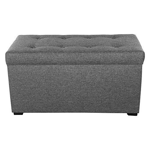 MJL Furniture Designs Angela Collection Button Tufted Upholstered Lift Top Medium Sized Bedroom Chest Storage Trunk, HJM100 Series, Dark Gray by MJL Furniture Designs