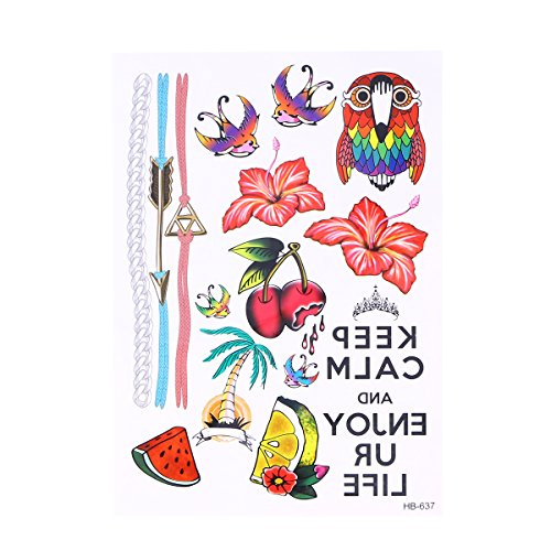 Frcolor Temporary Tattoos Hawaiian Style Summer Waterproof Sticker (Hibiscus Parrot)