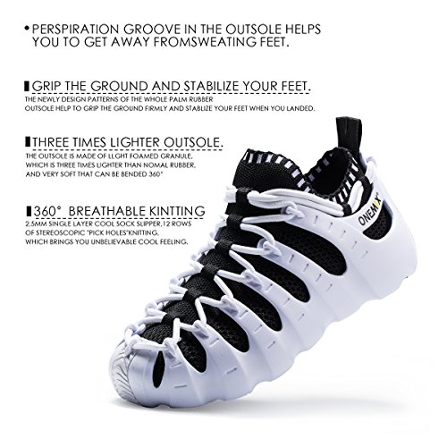 Shoes ONEMIX M Women's Lightweight US Outdoor Black Women M 3 5 Breathable Sneakers Like Walking US 35EU White Sock Men Sneakers AUrYEqAdnw
