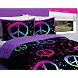 Girl Black Purple Pink Green Peace Sign Full Comforter Set (7pc Bed in a Bag)