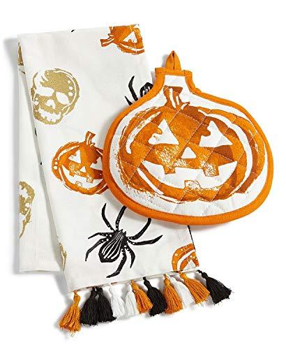Martha Stewart Halloween Kitchen Towel and Oven Mitt 2-Piece Set]()