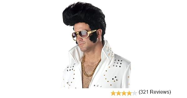 Deluxe Rock N Roll Elvis Wig Mens Fancy Dress 1950s Celebrity ...