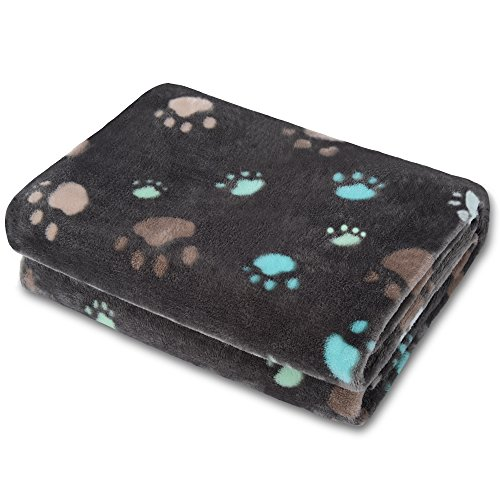 Allisandro Super Soft and Fluffy Dog Cat Puppy Blanket,Total 4 Sizes and 2 Colors Available for Small Medium Large Pet, Grey[100% Flannel Fleece] - Husky Paw Print