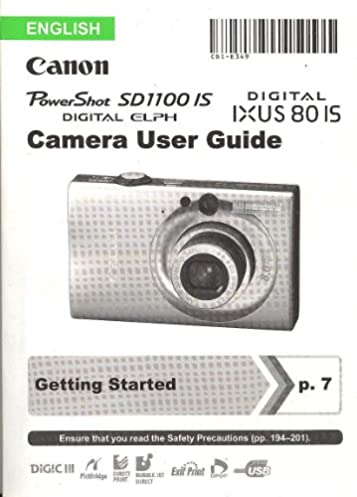 canon powershot sd1100 is digital elph canon digital ixus 80 is user rh amazon com Canon PowerShot A810 canon powershot sd1100 is user guide