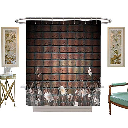 American Cherry Plank - luvoluxhome Shower Curtains Digital Printing Antique Old Planks American Style Western Rustic Wooden and White Daisies, Grass and Butterflies Satin Fabric Bathroom Washable W48 x L72