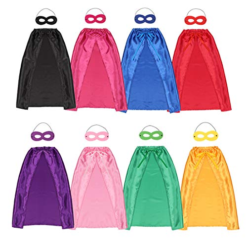 Children's Superhero Capes Mask Set - Boys Girls Cosplay Fancy Capes - Kids Dress Up Holiday Party Halloween Costume-8 Packs
