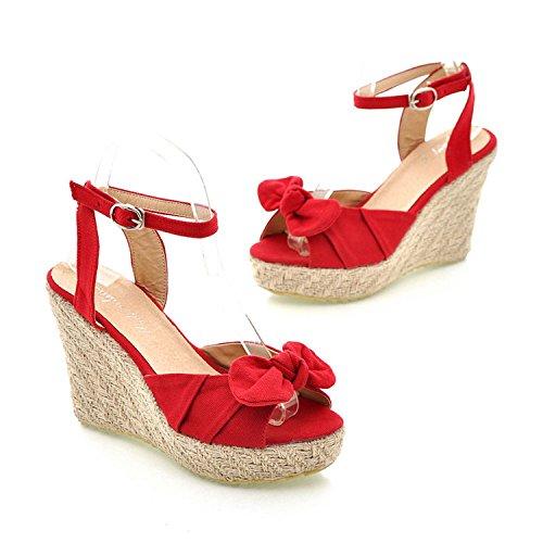 New Loft Thick Platform Wedges Sandals Ladies Sweet Bowtie Bowknot Ankle Strap Shoes Women Size 34 39 Red 8 5