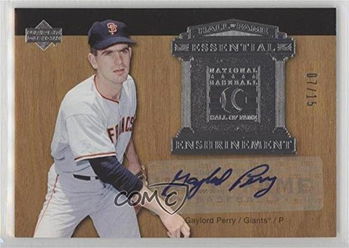 (Gaylord Perry #7/15 (Baseball Card) 2005 Upper Deck Hall of Fame - Essential Enshrinement - Silver Autographs [Autographed] #EE-GP1)