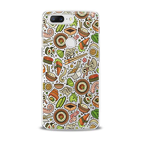 Lex Altern TPU Case for OnePlus 7 Pro 6T 6 2019 5T 5 2017 One+ 3 1+ Sushi Seafood Slim fit Colorful Flexible Green Smooth Gift Tasty Design Cover Kitchen Lightweight Orange Print Clear Pasta Soft -