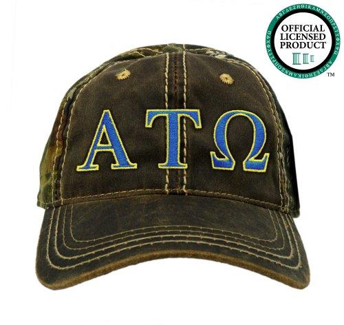 Alpha Tau Omega (ATO) Embroidered Camo Baseball Hat, Various Colors