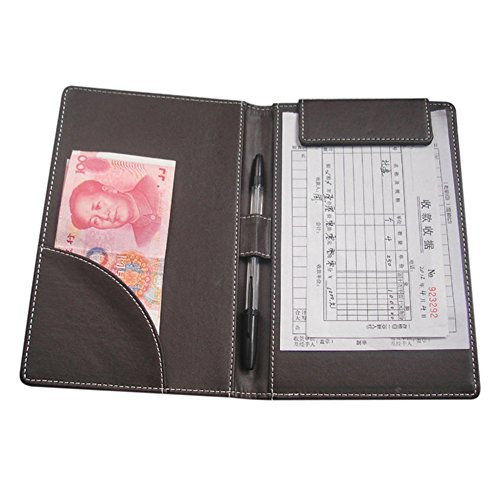 KINGFOM 9''X 6'' Leather Menu Folder Presenter Guest Check Book Holder Money Pocket Fit Server Apron with Pen Clip for Hotel Bar Salon KTV Restaurant (Brown Lichee Pattern) by KINGFOM