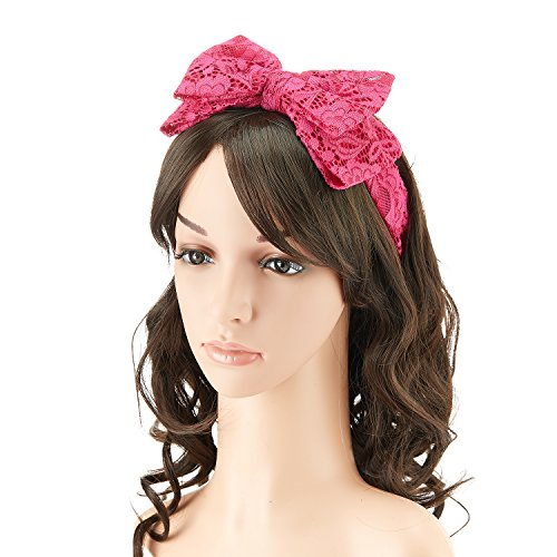 1980s Lace Hair Scarf Headband with Satin for Culture Women's 80s Themed Costume Accessory,Hot Pink (Halloween Accessories)