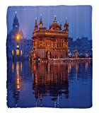 Chaoran 1 Fleece Blanket on Amazon Super Silky Soft All Season Super Plush Home Decor etGolden Temple at Night City Lights Holyhrine Worship for Men Women Equally Picture Accessories Orange