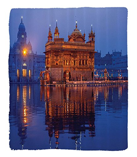 Chaoran 1 Fleece Blanket on Amazon Super Silky Soft All Season Super Plush Home Decor etGolden Temple at Night City Lights Holyhrine Worship for Men Women Equally Picture Accessories Orange by  (Image #6)