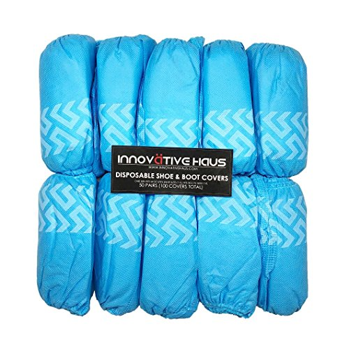 Innovative Haus Premium Thick Extra Large Disposable Boot & Shoe Covers | Durable, Non-Slip,Treads, Water Resistant, Non-Toxic,100% Latex Free | Stronger than Competitor-40 grams | 100-Pack Blue | by Innovative Haus (Image #2)