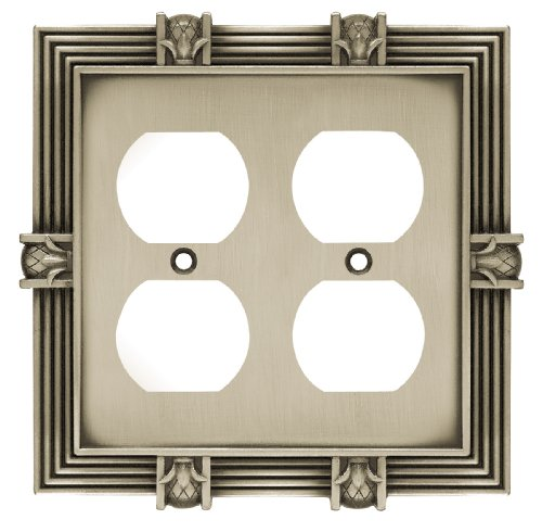 Franklin Brass 64458 Pineapple Double Duplex Outlet Wall Plate/Switch Plate/Cover, Brushed Satin Pewter