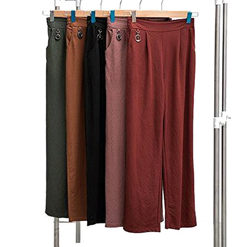 2018 Cotton Wide-Leg Pants Women Elastic Waist Ankle-Length Pants for Female ()