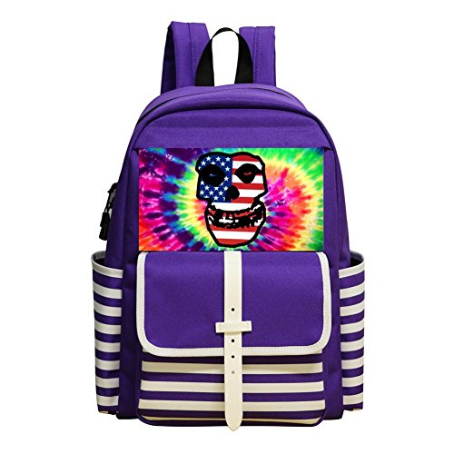 Oiguio Misfits American Flag Logo School Backpack Bookbag Daypack Shoulder Bag Purple]()