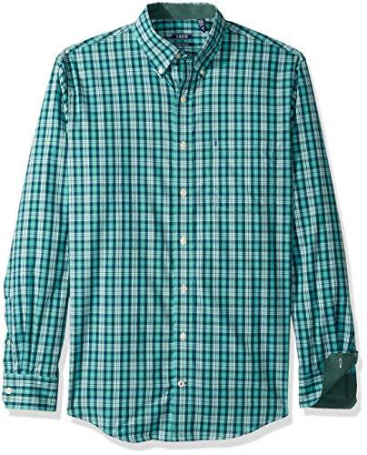IZOD Mens Big and Tall Essential Plaid Long Sleeve Shirt,