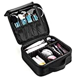 CoolBELL Makeup Bag Travel Makeup Train Case Cosmetic Organizer Case With Adjustable Dividers for Cosmetics Makeup Brushes Jewelry Toiletry Digital accessories (Black)