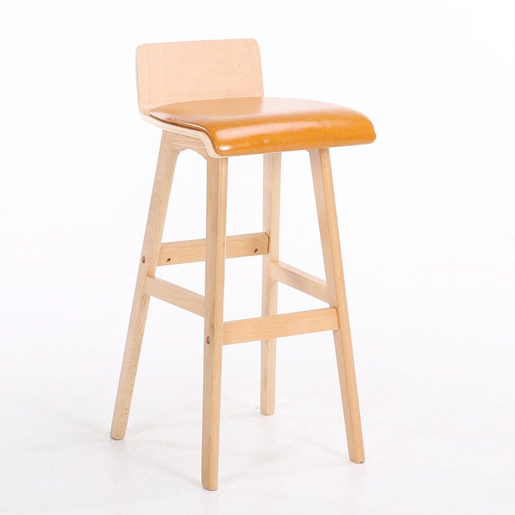 バースツール、ソリッドウッドバースツール、カフェブレックファストハイチェアー、ダークグリーン(H75cm * L40cm * W40cm)、背もたれバーチェア ( Color : Orange ) B07CMKMSC3 Orange Orange