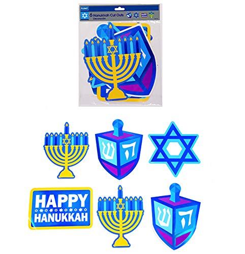 Plum Nellie's Treasures Hanukkah Decorations - Set of 6 10inch Hot Stamping Cutouts, Menorah, Dreidel, Star of David & Happy ()