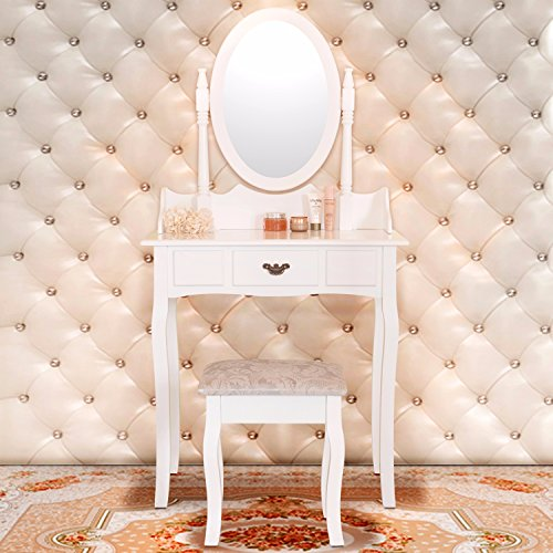 Mecor Vanity Makeup Table Set Dressing Table with Stool and Oval Mirror ,White (1 Drawer)