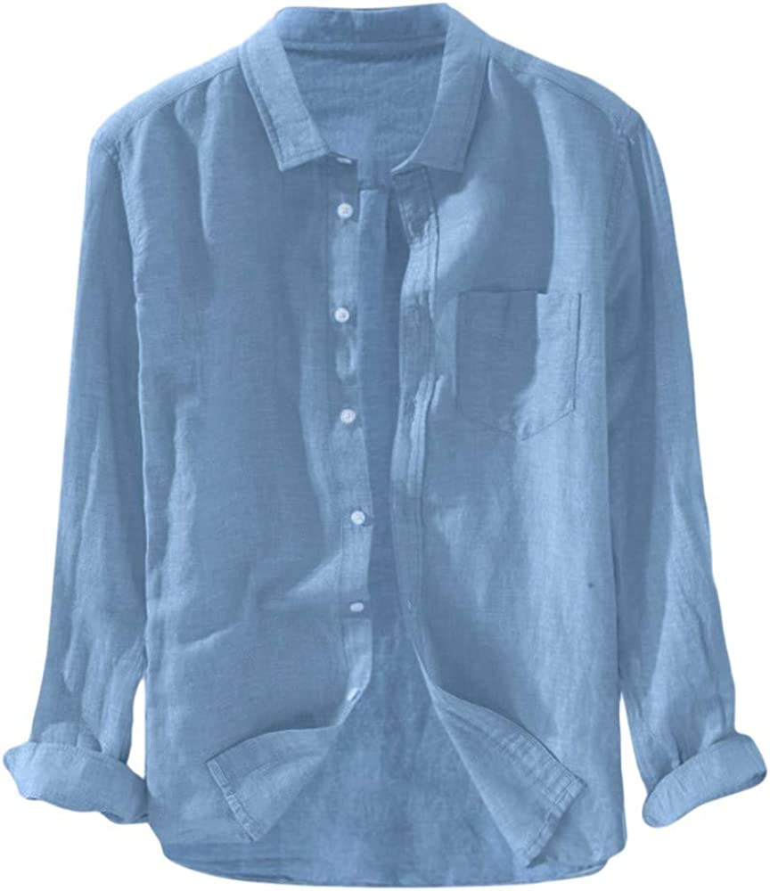 Gusspower Hombre Camisa de algodón y Lino de Manga Larga Transpirable Camisetas Retro holgadas de Color sólido Camisa Casual de Verano Collar de pie Tallas Grandes Camisa de Playa Tops Blusa: Amazon.es: