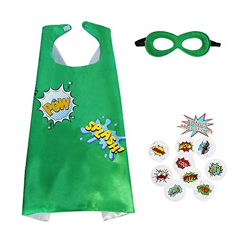 Flying Childhood Boys&Girls Superhero Cape+Mask Set and Stickers