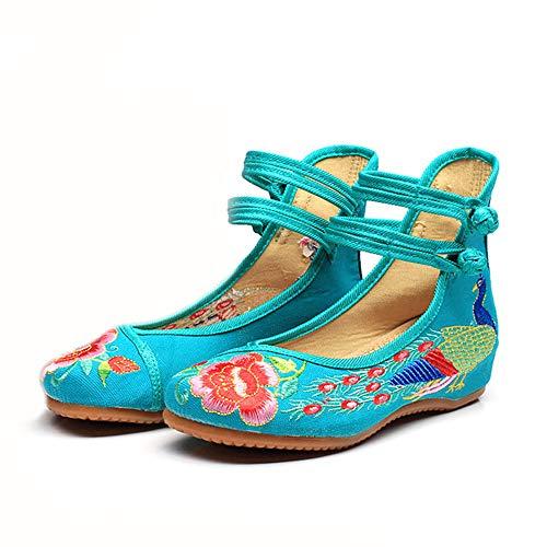Libre Vertes Chaussures Femmes Danse Brodes Ethniques Bohmiennes Paon C0X1Fw