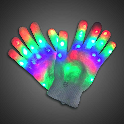 LED Light Up Gloves, White Light Large 3 Colorful 6 Modes 1 Pair,  Large