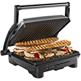 Chefman RJ02-180-4-AM Panini Press Grill and Gourmet Sandwich Maker, Non-Stick Coated Plates, Opens Stainless Steel Surface and Removable Drip Tray, 4 Slice
