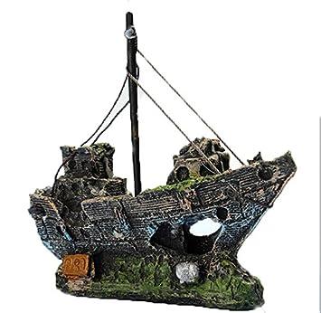 decoraciones del tanque de pescados, Kfnire ornamento del acuario del barco de pesca de la resina: Amazon.es: Jardín
