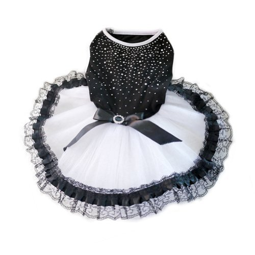WXBUY Glitter Bow Lace Dog Tutu Dress Bubble Skirt Pet Clothes Puppy Costume