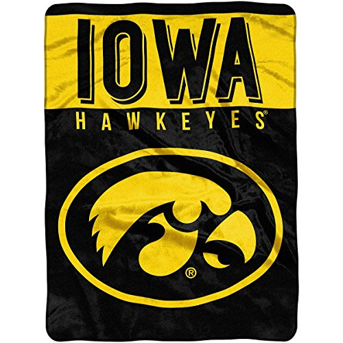 The Northwest Company Officially Licensed NCAA Iowa Hawkeyes Basic Plush Rashel Throw Blanket, 60