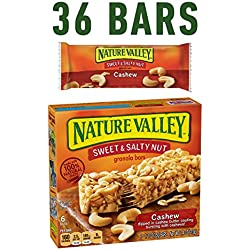 Nature Valley Granola Bars, Sweet and Salty Nut, Cashew, 6 Bars - 1.2 oz (Pack of 6)