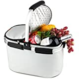 YONOVO 32 L Folding Picnic Basket Insulated Cooler Bag for Family Gathering Camping Travel BBQ (Ivory)