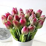 10PCS Wedding Decor PU Tulip Artificial Wedding Home Design Bouquet Flowers (greenpink)