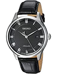 Seiko Mens Classic Dress Japanese Automatic Stainless Steel and Leather Casual Watch, Color:Black (Model: SRPA97)