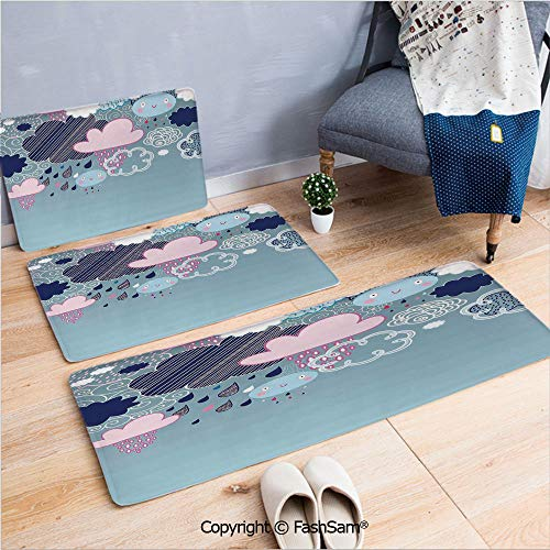 3 Piece Non Slip Flannel Door Mat Clouds Made with Smiley Faces and Ornate Motifs Happy Rainy Season Graphic Image Indoor Carpet for Bath Kitchen(W15.7xL23.6 by W19.6xL31.5 by - Ornate Light Cast Six