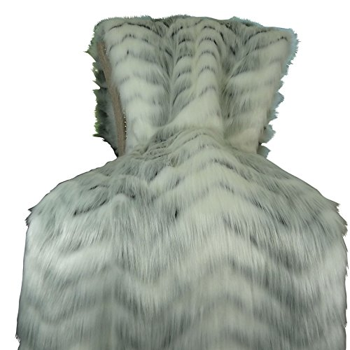 - Thomas Collection White Fox Faux Fur Throw Blanket & Bedspread - White Gray Fox Fur Throw - Luxury Fox Faux Fur - Soft Faux Fur Blanket, Handmade in USA, 16483