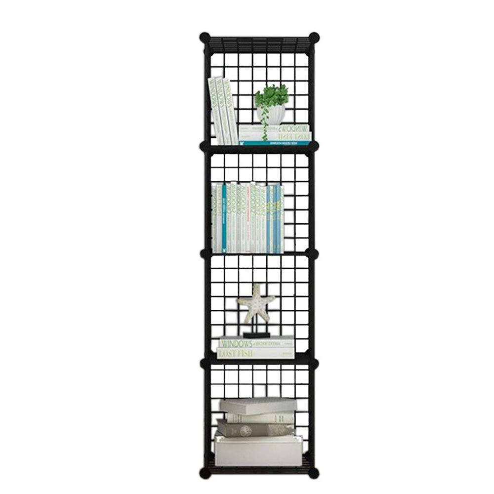 Black 14.5614.5657.87in JCAFA Shelves Bookshelf Iron Mesh Metal Frame Cube Storage Box Shelving Bookcase DIY Closet Organizers Living Room Bedroom Office (color   Black, Size   14.56  14.56  57.87in)