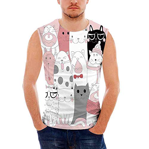 Cat Custom Graphic Tank Tops,Cute Cartoon Kittens Collection Funny Smiling Glass