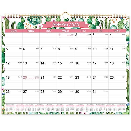 2020 Calendar - 2020 Monthly Wall Calendar, 15' x 11.5', Two-Wire Binding, Ruled Blocks with Julian...