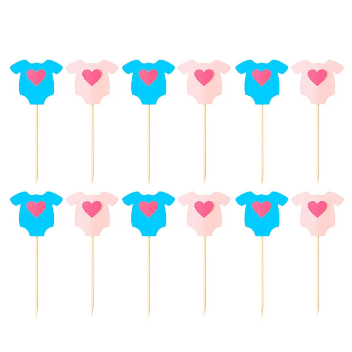 BESTONZON 24 Pz Ragazza Festa A Tema Torta Cupcake Toppers Torta Decorativa Picks per Bambini Baby Shower Festa di Compleanno (Vestiti Del Bambino)