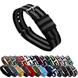 BARTON Watch Bands - Black/Smoke (James Bond) 22mm Width or Choice of Colors & Widths (18mm, 20mm, 22mm)