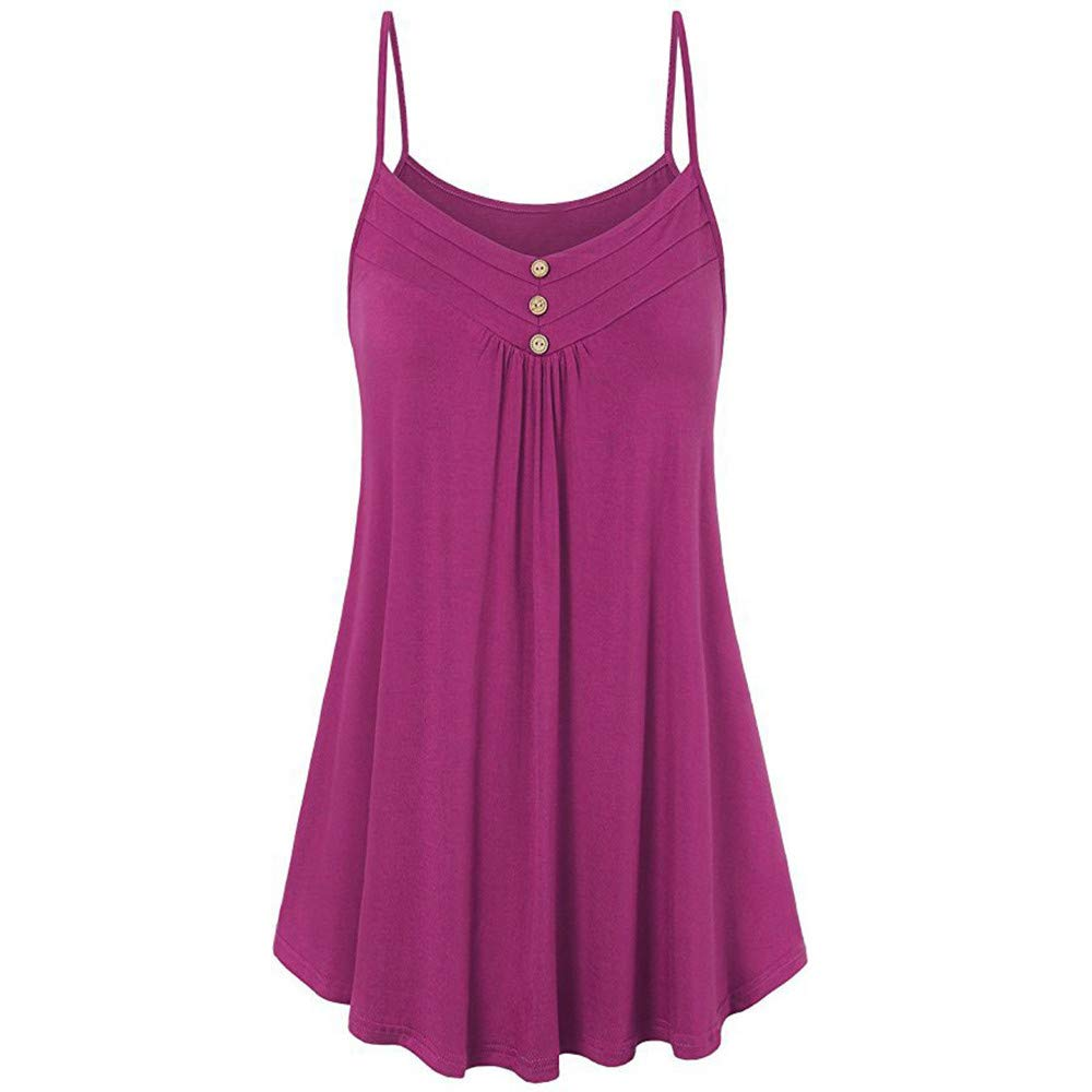 iLUGU Women Summer Loose Button V Neck Cami Square Neck Off Shoulder Top Tank Sleeveless Vest Blouse Hot Pink
