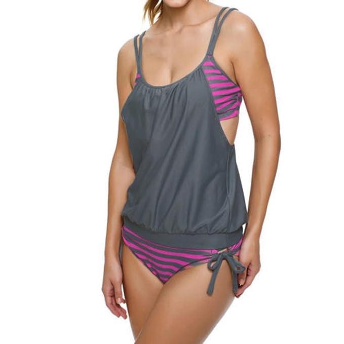 6e2ebf04c1df Jaminy Tankini Spitze Damen Bikini Push up Set, Frau Gestreiftes Spleißen  Strap Bikini Bademode Badeschlinge