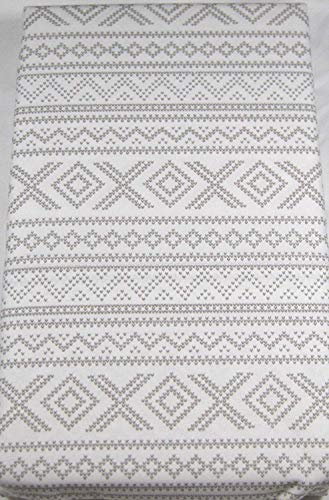 Lauren Standard Pillowcases Geometric Design 100% Cotton White and Light Gray Set of 2
